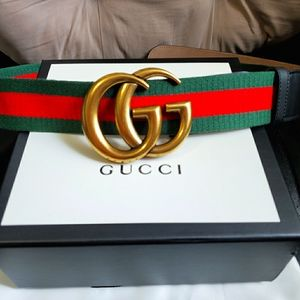 😎Authentic Gucci Belt Green Red Stripes Gold GG